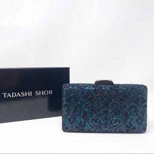 Tadashi Shoji  Pizzo Clutch - Blue & Black